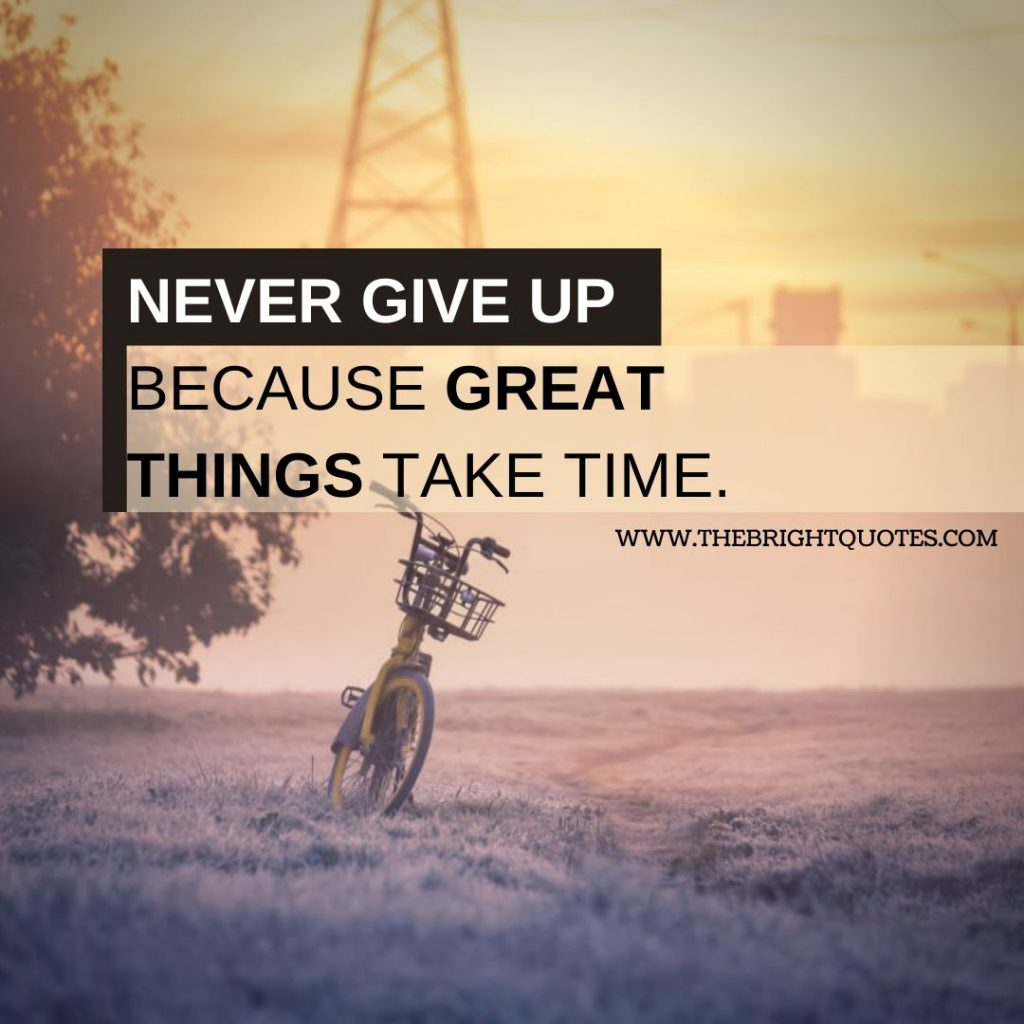 motivational quote never give up because great things take time