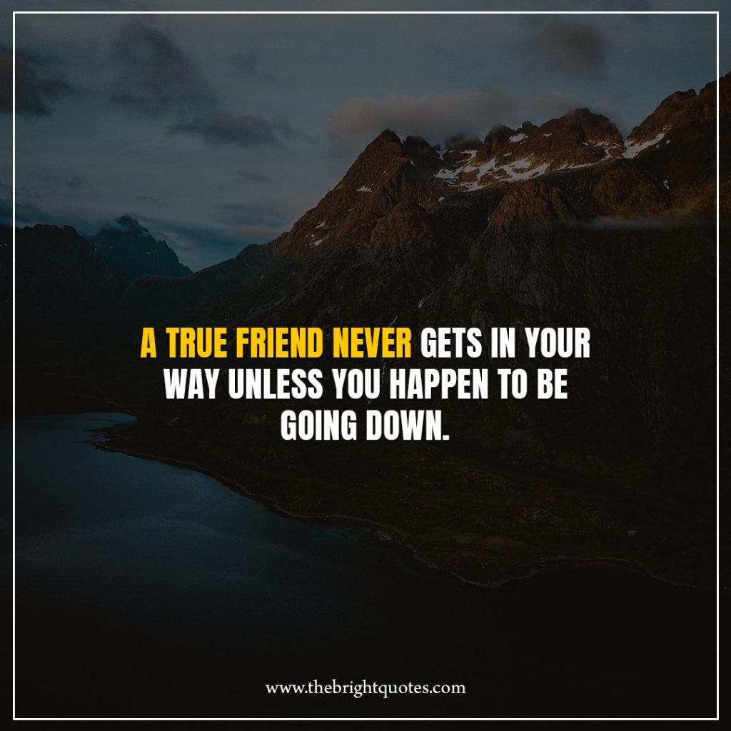 11 quote of the day A true friend never gets in your way unless you happen to be going down