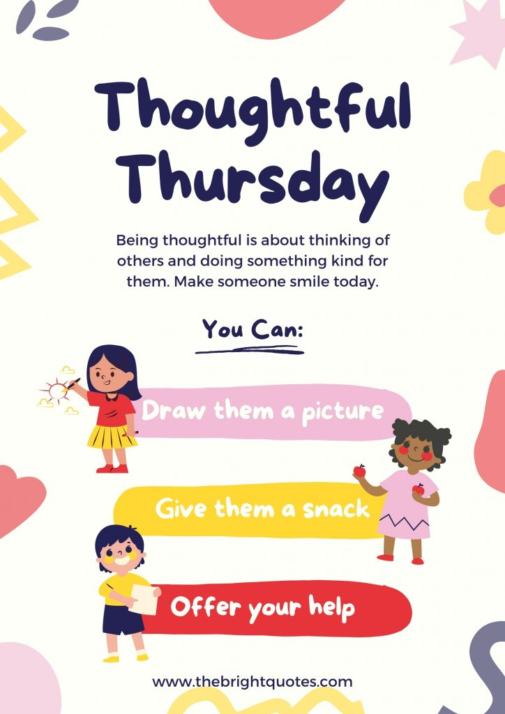 Colorful Hand Drawn Thoughtful Thursday Wellness Social and Emotional Learning Poster