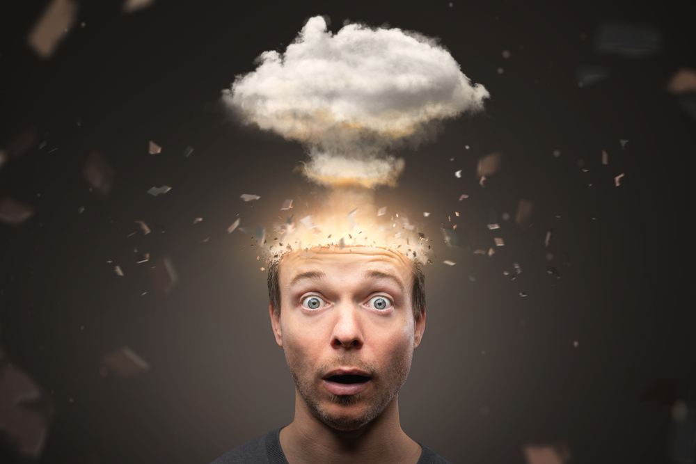 Man with an exploding mind