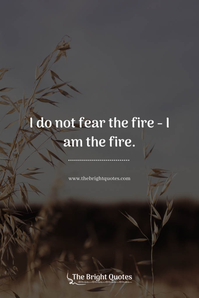 I do not fear the fire… I am the fire.
