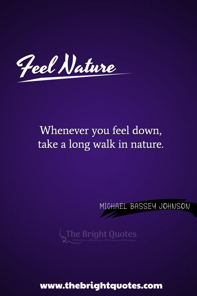 """""""Whenever you feel down, take a long walk in nature."""""""