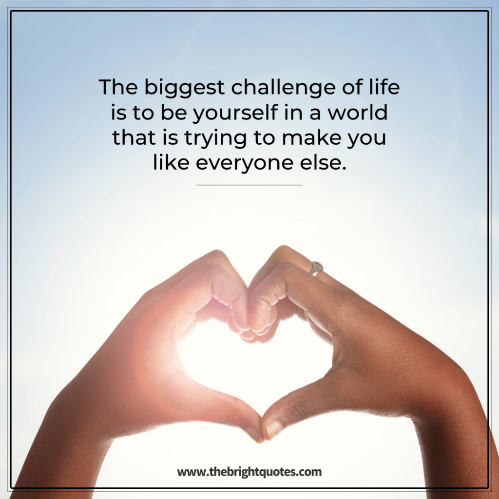 The biggest challenge of life is to be yourself in a world that is trying to make you like everyone else.