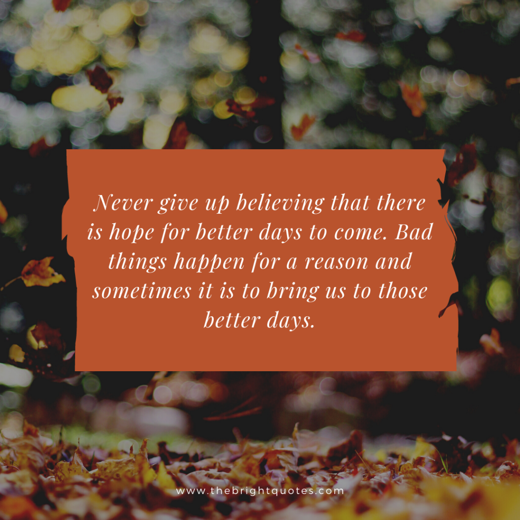 Never give up believing that there is hope for better days to come. Bad things happen for a reason and sometimes it is to bring us to those better days.