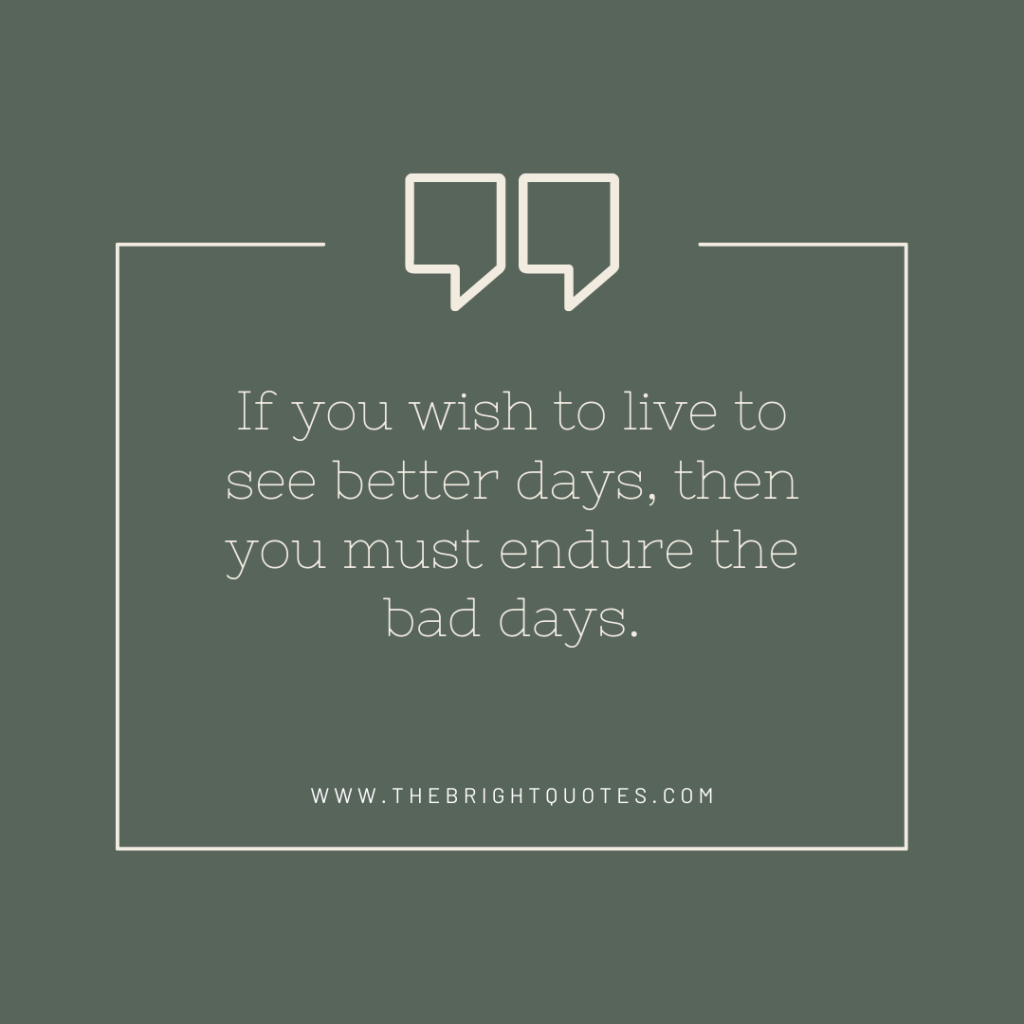 If you wish to live to see better days, then you must endure the bad days.