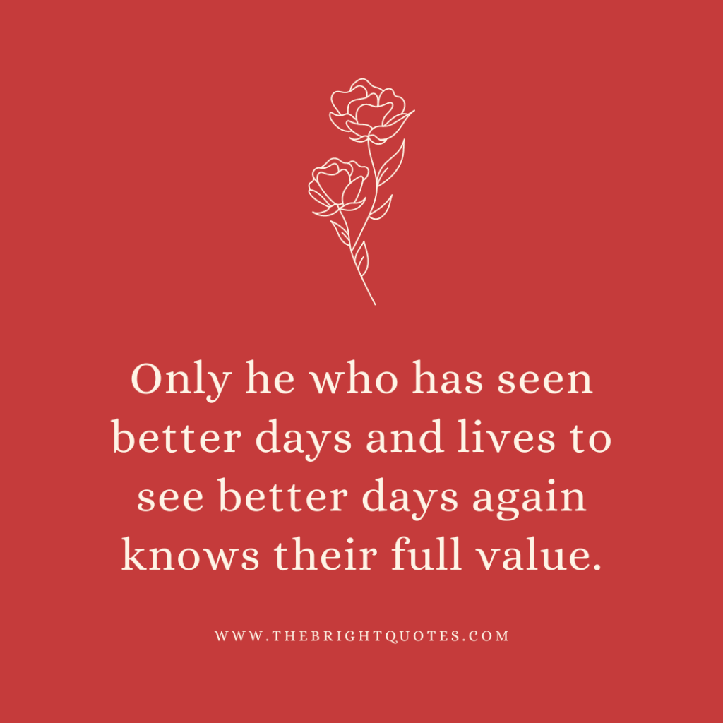 Only he who has seen better days and lives to see better days again knows their full value.