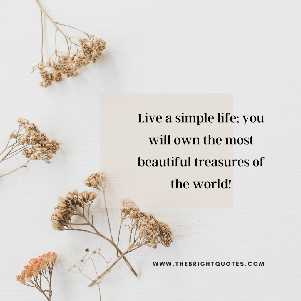 Live a simple life; you will own the most beautiful treasures of the world!