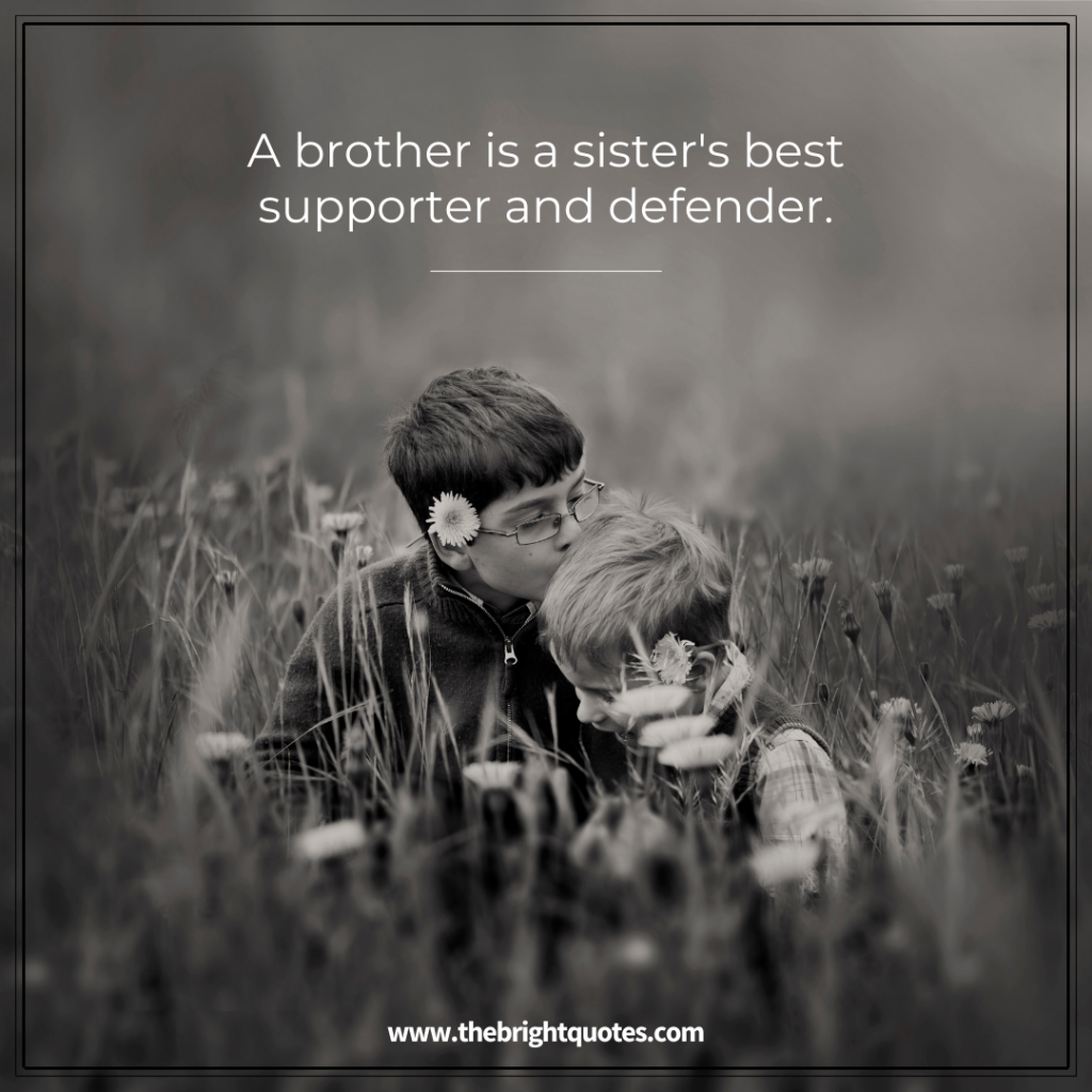 a brother is a sister's best supporter and defender
