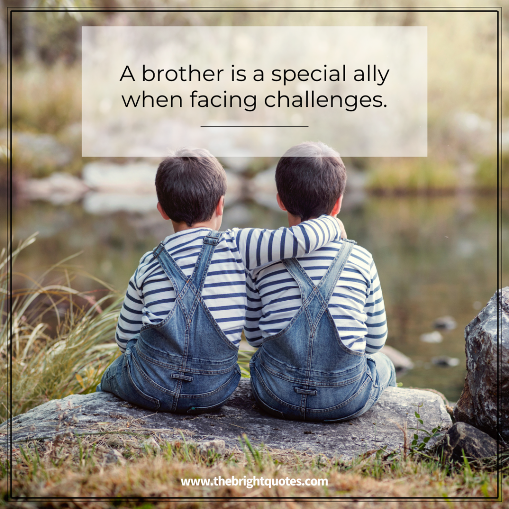 a brother is a special ally when facing challenges.